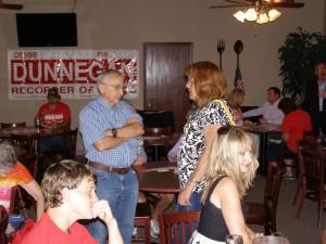 Pachyderm President Linda Van De Riet talking with Jim Terry.