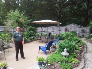 Pachyderm 1srt Vice President Don Bickowski at one of the stops on the Cedar Hill Garden Tour.